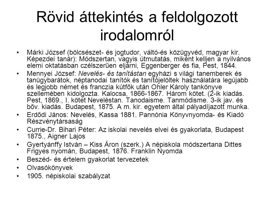 Rövid áttekintés a feldolgozott irodalomról Márki József (bölcsészet- és jogtudor, váltó-és közügyvéd, magyar kir.