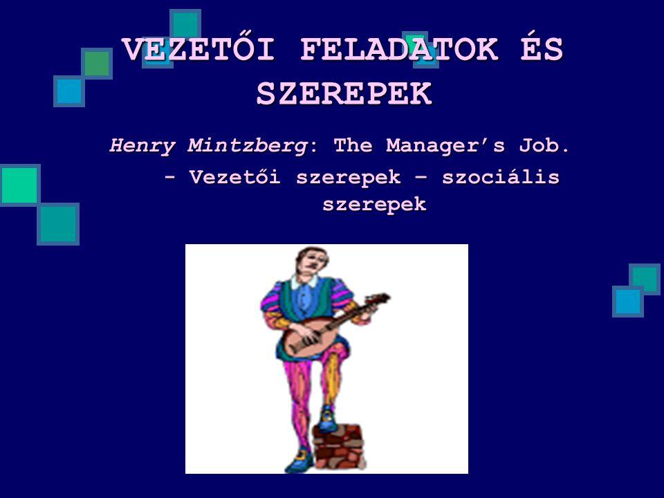 VEZETŐI FELADATOK ÉS SZEREPEK Henry Mintzberg: The Manager's Job. - Vezetői szerepek – szociális szerepek