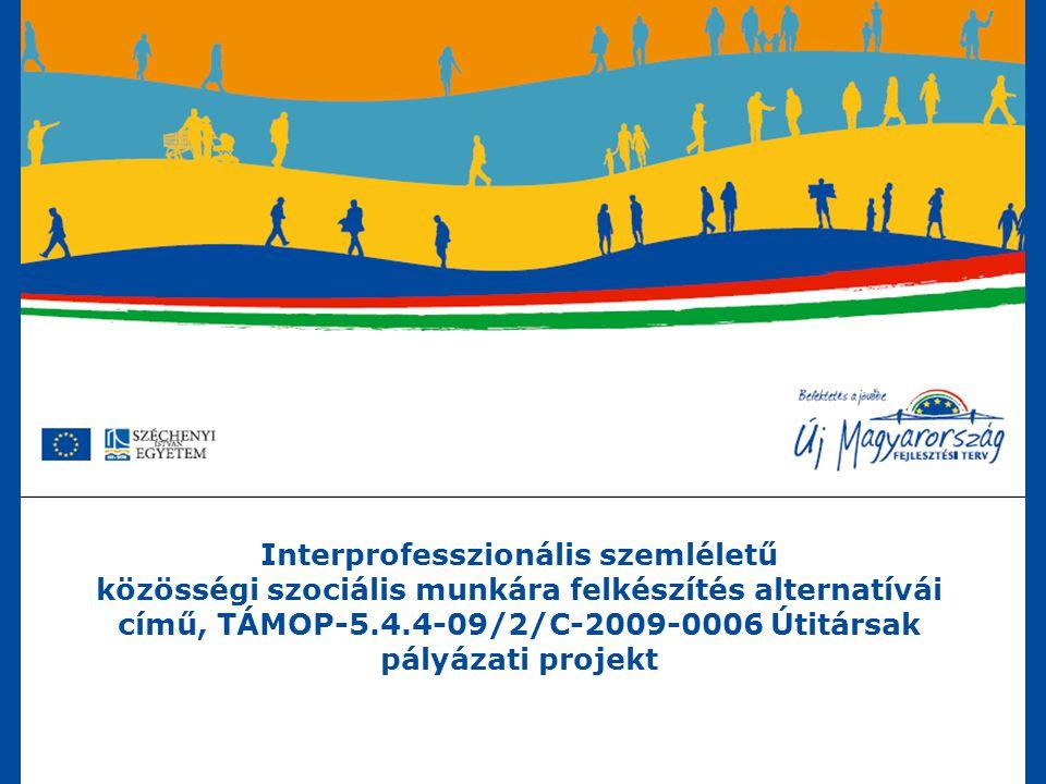 Interprofesszionális szemléletű közösségi szociális munkára felkészítés alternatívái című, TÁMOP-5.4.4-09/2/C-2009-0006 Útitársak pályázati projekt