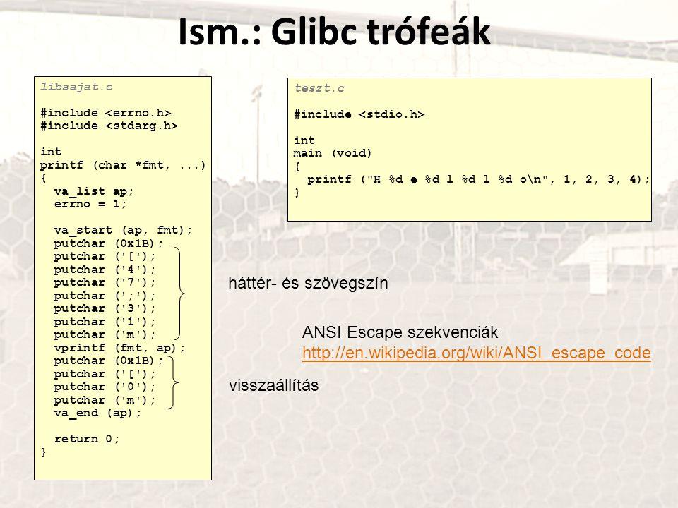 Ism.: Glibc trófeák nbatfai@hallg:~/c$ gcc -fPIC -shared -Wl,-soname,libsajat.so.1 -o libsajat.so.1.0 libsajat.c nbatfai@hallg:~/c$ ln -s libsajat.so.1.0 libsajat.so.1 nbatfai@hallg:~/c$ ln -s libsajat.so.1 libsajat.so nbatfai@hallg:~/c$ export LD_PRELOAD=libsajat.so nbatfai@hallg:~/c$ export LD_LIBRARY_PATH=.:$LD_LIBRARY_PATH nbatfai@hallg:~/c$ gcc teszt.c -o teszt nbatfai@hallg:~/c$./teszt H 1 e 2 l 3 l 4 o nbatfai@hallg:~/c$