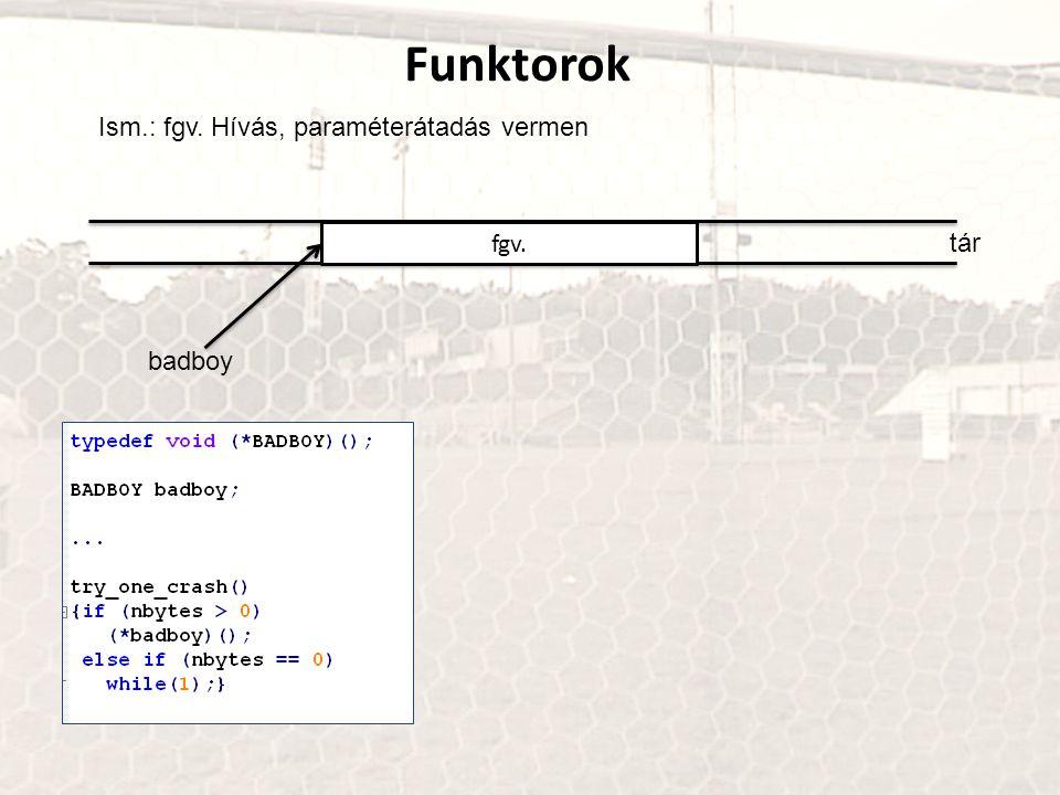 Funktorok Ism.: paraméterátadás a)Regiszterek b)Közös memória c)Verem (tipikusan a magasszintű programozási nyelvek)