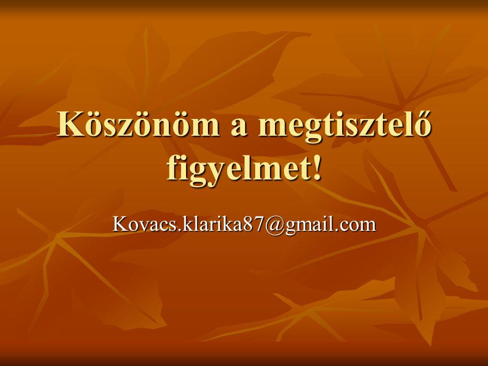 Köszönöm a megtisztelő figyelmet! Kovacs.klarika87@gmail.com