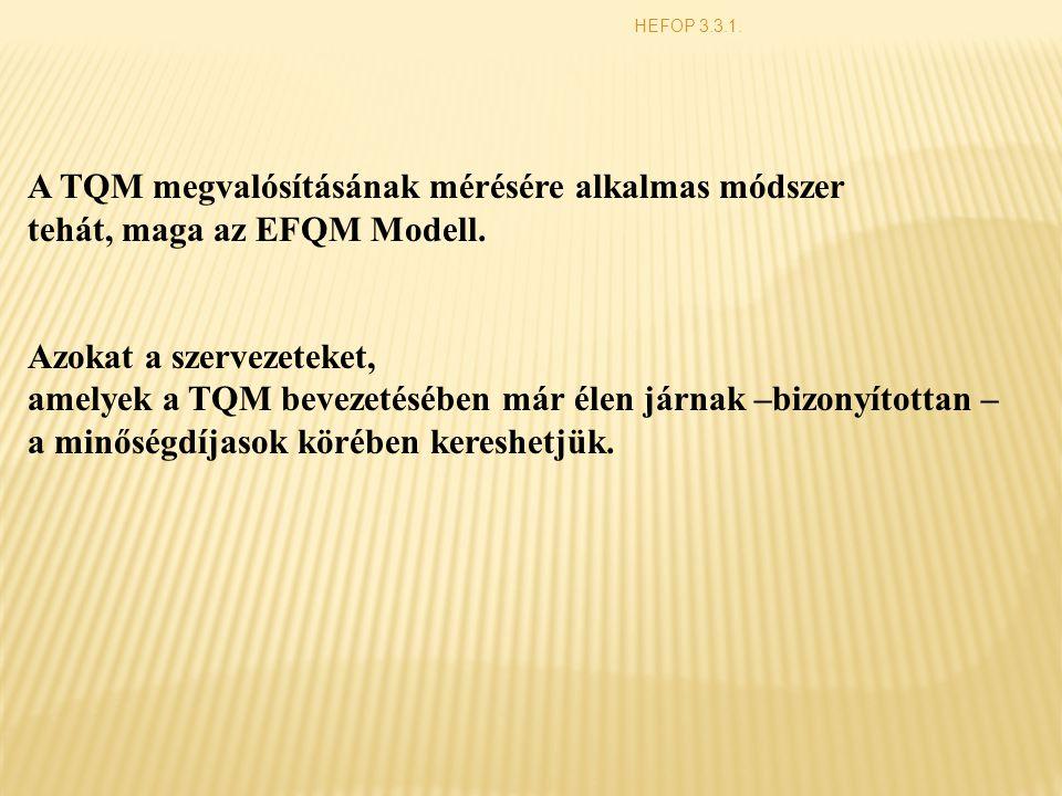 HEFOP 3.3.1. A TQM megvalósításának mérésére alkalmas módszer tehát, maga az EFQM Modell. Azokat a szervezeteket, amelyek a TQM bevezetésében már élen