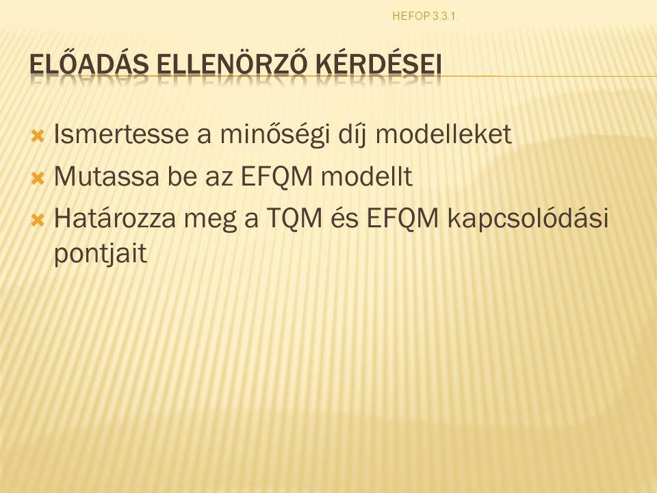  Ismertesse a minőségi díj modelleket  Mutassa be az EFQM modellt  Határozza meg a TQM és EFQM kapcsolódási pontjait HEFOP 3.3.1.