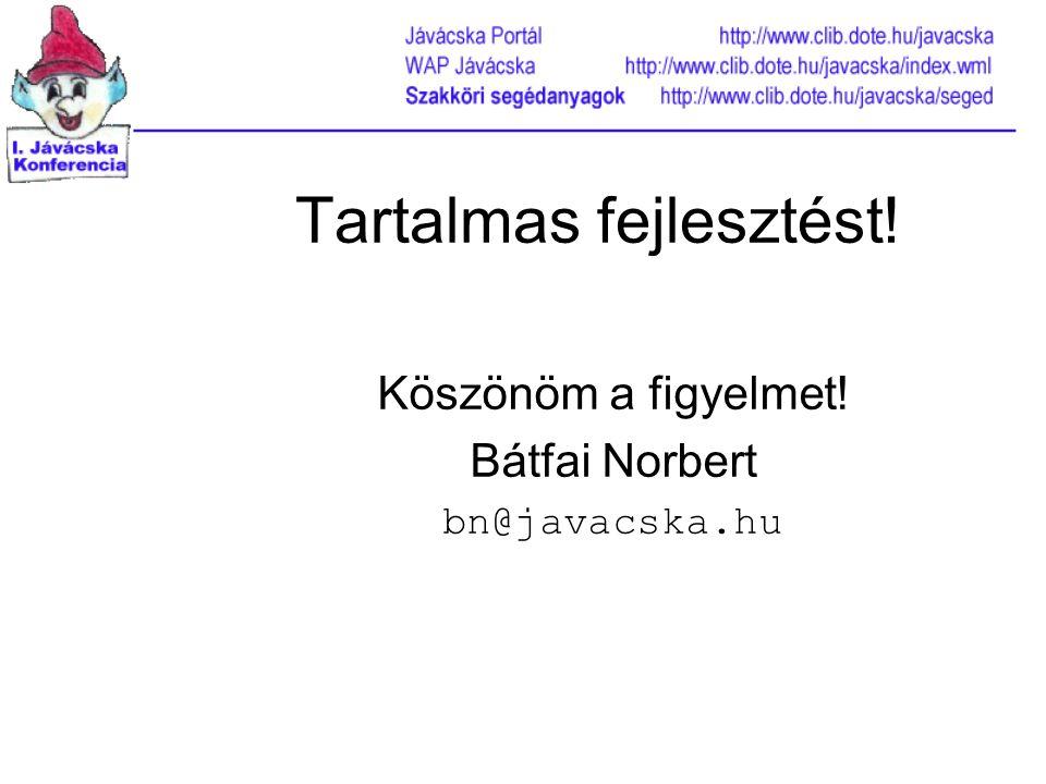 Tartalmas fejlesztést! Köszönöm a figyelmet! Bátfai Norbert bn@javacska.hu