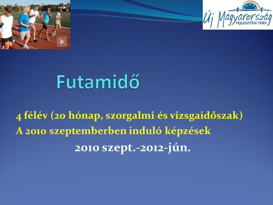 4 félév (20 hónap, szorgalmi és vizsgaidőszak) A 2010 szeptemberben induló képzések 2010 szept.-2012-jún.