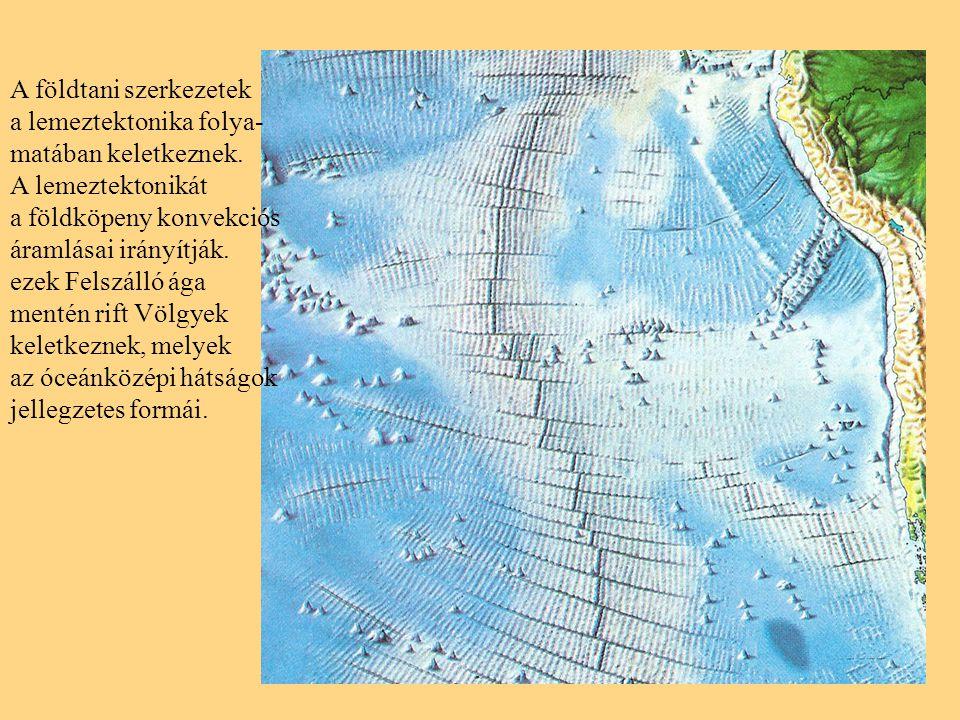 A földtani szerkezetek a lemeztektonika folya- matában keletkeznek.