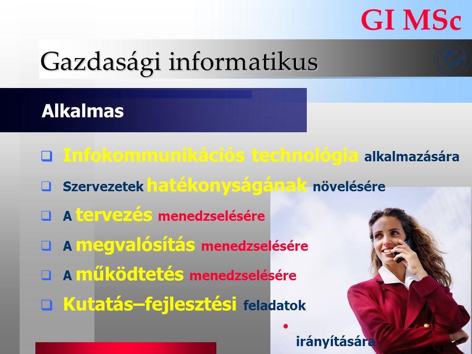 Gazdasági informatikus  Infokommunikációs technológia alkalmazására  Szervezetek hatékonyságának növelésére  A tervezés menedzselésére  A megvalós