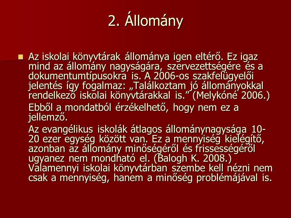 Felhasznált irodalom: Balogh Krisztina: Az evangélikus iskolák könyvtárainak helyzete = Könyv és Nevelés 2008.
