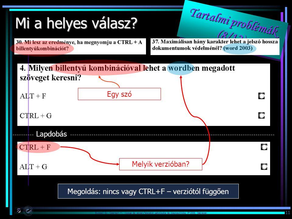 Bujdosó Gy., Csernoch M.: Vizsga- és versenyfeladatok patológiája és diagnosztikája, IF 2008, Debrecen 11 Tartalmi problémák (8/12) Tartalmi problémák (8/12) Tartalmi problémák (8/12) Tartalmi problémák (8/12) Mi a helyes válasz.