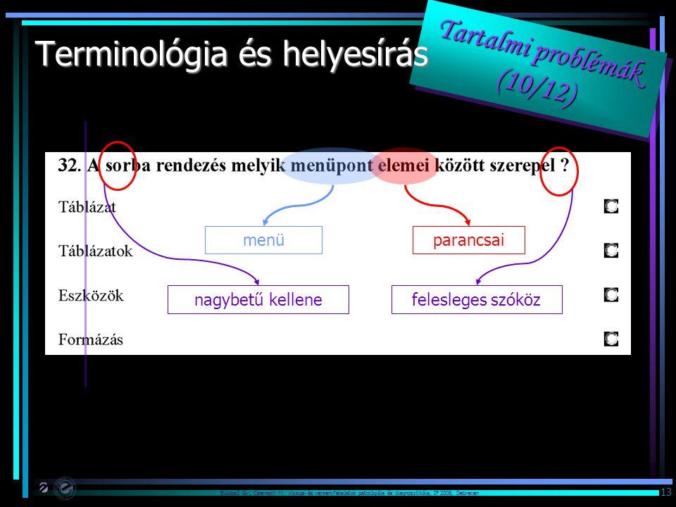 Bujdosó Gy., Csernoch M.: Vizsga- és versenyfeladatok patológiája és diagnosztikája, IF 2008, Debrecen 13 Tartalmi problémák (10/12) Terminológia és helyesírás menüparancsai nagybetű kellenefelesleges szóköz