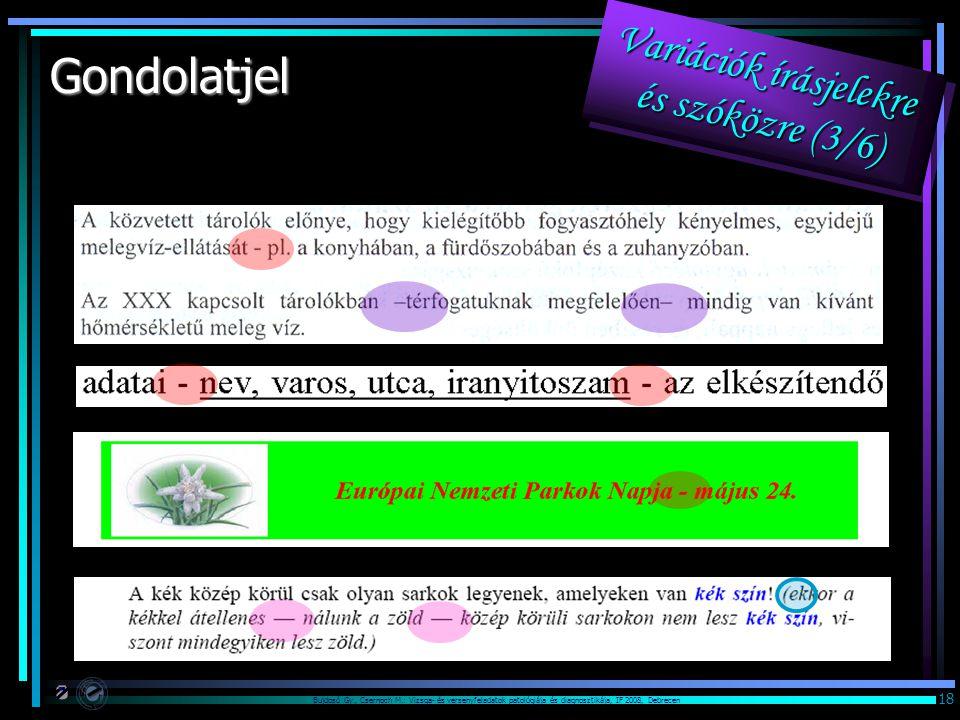 Bujdosó Gy., Csernoch M.: Vizsga- és versenyfeladatok patológiája és diagnosztikája, IF 2008, Debrecen 18 Gondolatjel Variációk írásjelekre és szóközr