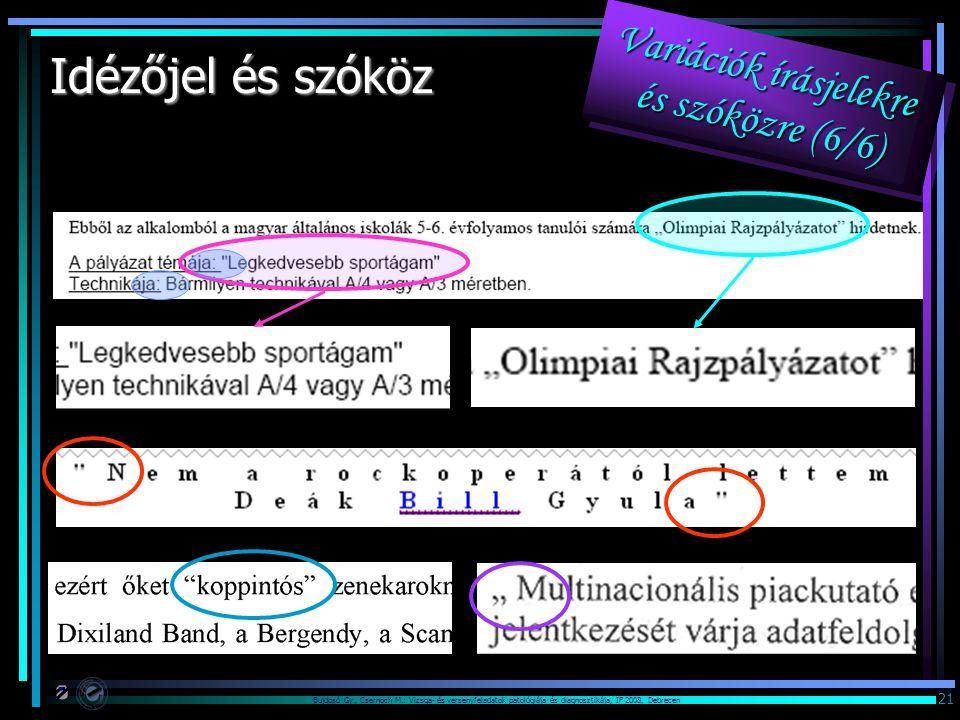 Bujdosó Gy., Csernoch M.: Vizsga- és versenyfeladatok patológiája és diagnosztikája, IF 2008, Debrecen 21 Idézőjel és szóköz Variációk írásjelekre és