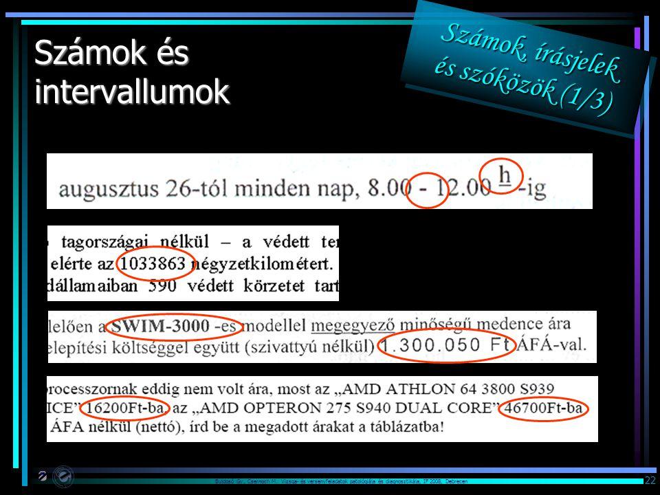 Bujdosó Gy., Csernoch M.: Vizsga- és versenyfeladatok patológiája és diagnosztikája, IF 2008, Debrecen 22 Számok és intervallumok Számok, írásjelek és szóközök (1/3) Számok, írásjelek és szóközök (1/3) Számok, írásjelek és szóközök (1/3) Számok, írásjelek és szóközök (1/3)