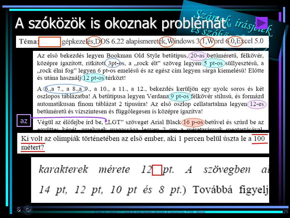 Bujdosó Gy., Csernoch M.: Vizsga- és versenyfeladatok patológiája és diagnosztikája, IF 2008, Debrecen 25 Számok, írásjelek és szóközök (3/3) A szóközök is okoznak problémát az