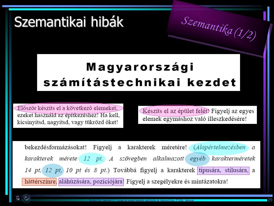 Bujdosó Gy., Csernoch M.: Vizsga- és versenyfeladatok patológiája és diagnosztikája, IF 2008, Debrecen 29 Szemantikai hibák Szemantika (1/2)