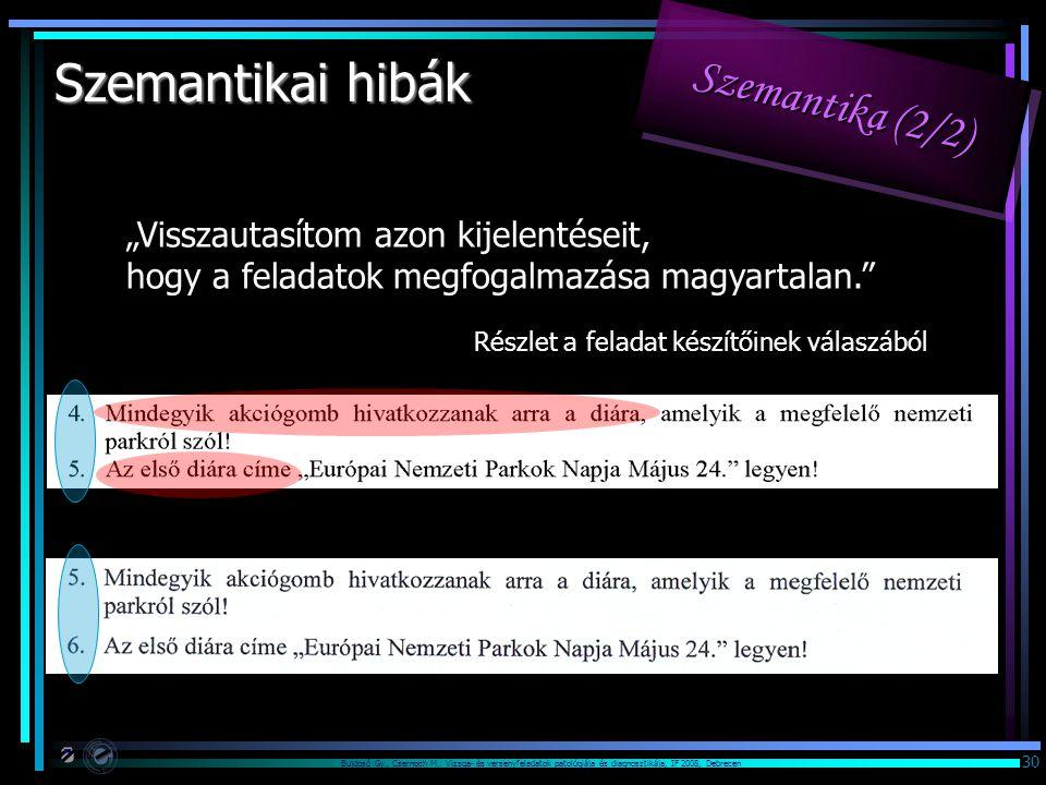 """Bujdosó Gy., Csernoch M.: Vizsga- és versenyfeladatok patológiája és diagnosztikája, IF 2008, Debrecen 30 """"Visszautasítom azon kijelentéseit, hogy a feladatok megfogalmazása magyartalan. Részlet a feladat készítőinek válaszából Szemantikai hibák Szemantika (2/2)"""