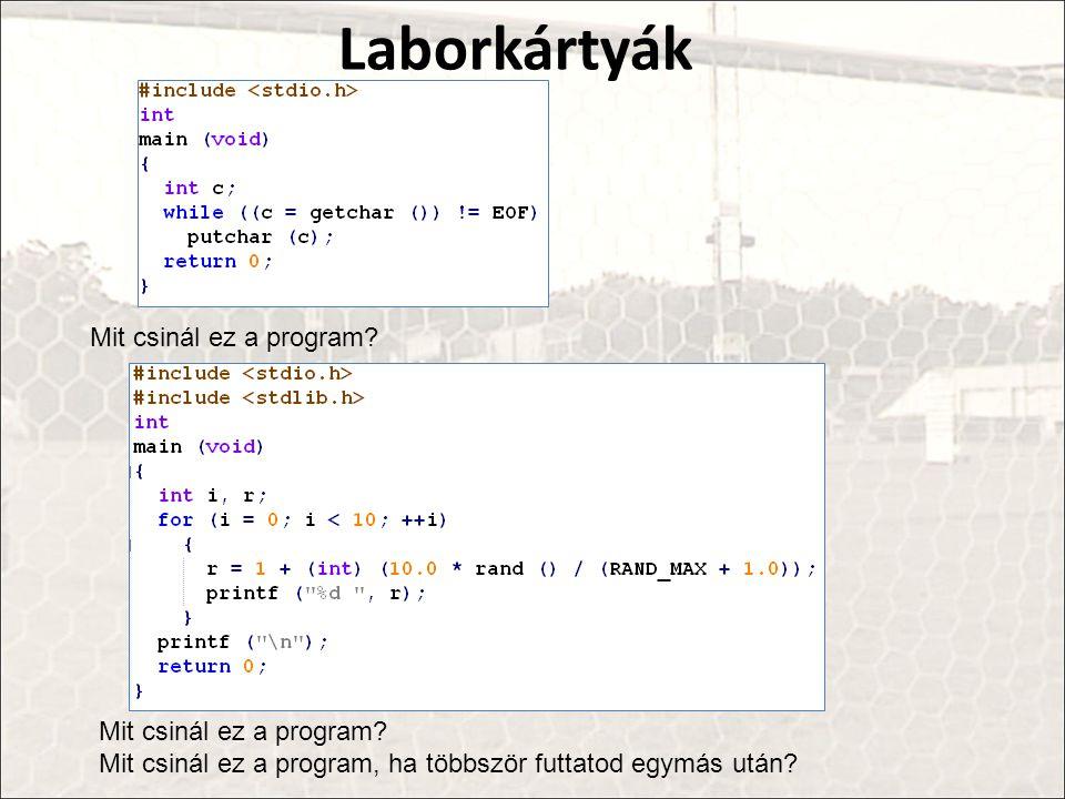 Laborkártyák Mit csinál ez a program? Mit csinál ez a program, ha többször futtatod egymás után?