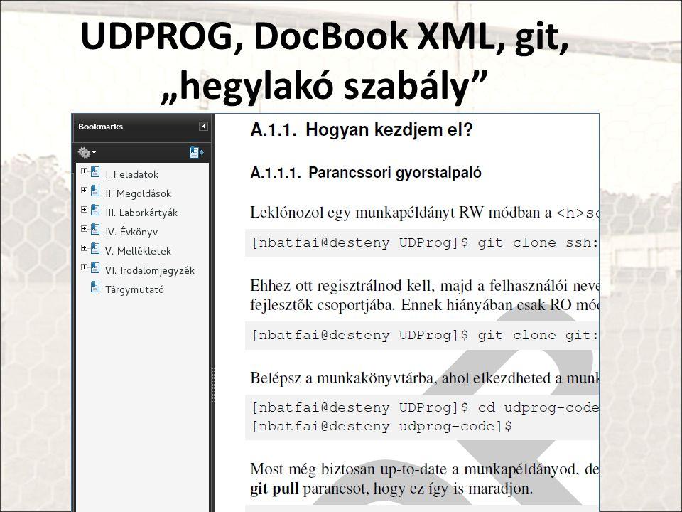 """UDPROG, DocBook XML, git, """"hegylakó szabály"""
