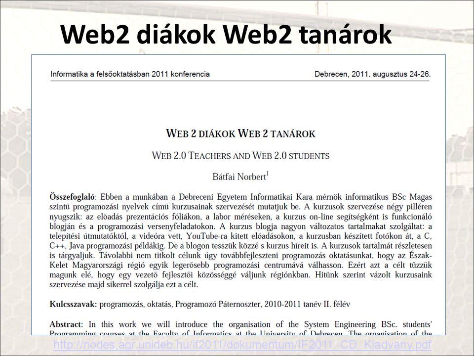 Web2 diákok Web2 tanárok http://nodes.agr.unideb.hu/if2011/dokumentum/IF2011_CD_Kiadvany.pdf
