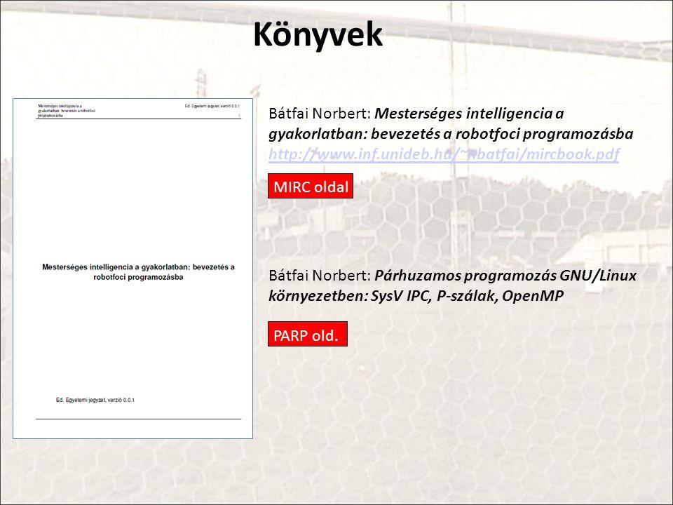 Bátfai Norbert: Mesterséges intelligencia a gyakorlatban: bevezetés a robotfoci programozásba http://www.inf.unideb.hu/~nbatfai/mircbook.pdf http://www.inf.unideb.hu/~nbatfai/mircbook.pdf Bátfai Norbert: Párhuzamos programozás GNU/Linux környezetben: SysV IPC, P-szálak, OpenMP MIRC oldal Könyvek PARP old.