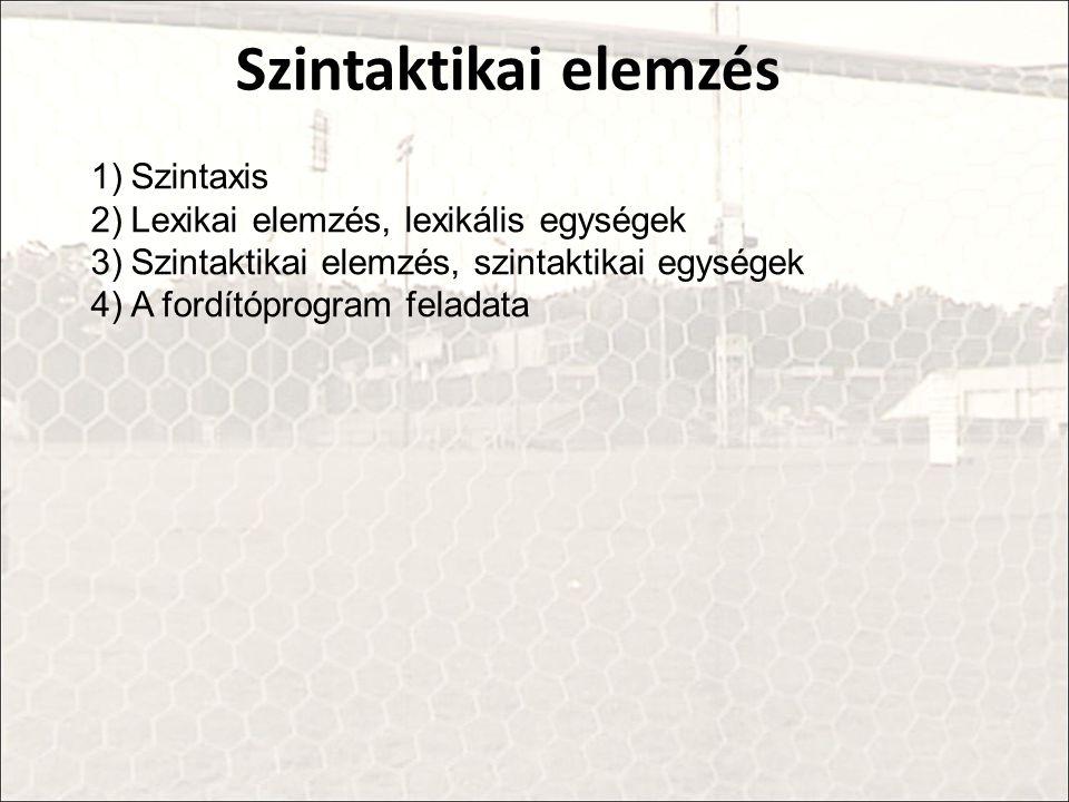 Szintaktikai elemzés 1)Szintaxis 2)Lexikai elemzés, lexikális egységek 3)Szintaktikai elemzés, szintaktikai egységek 4)A fordítóprogram feladata