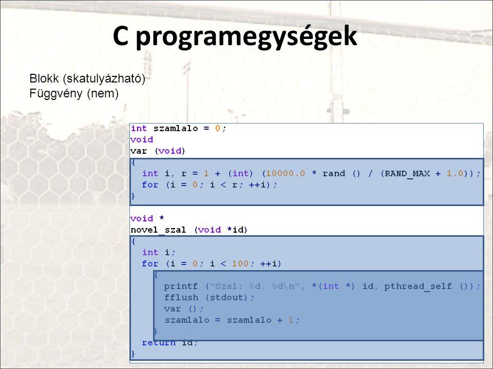 C programegységek Blokk (skatulyázható) Függvény (nem)