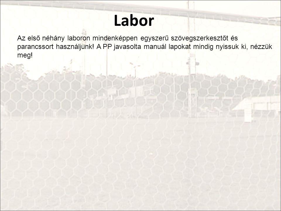 Labor Az első néhány laboron mindenképpen egyszerű szövegszerkesztőt és parancssort használjunk.