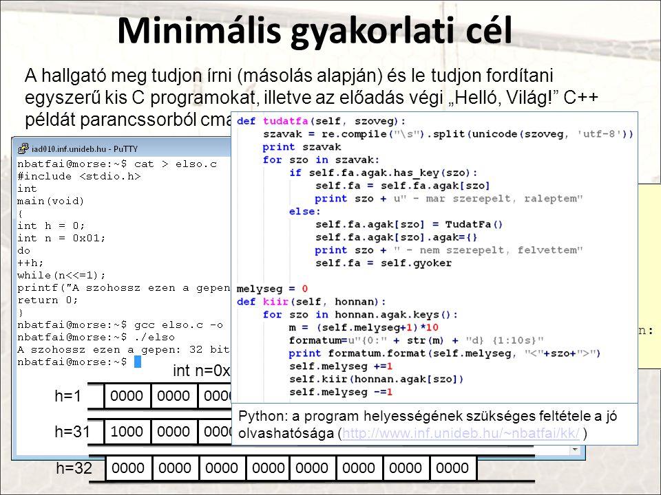 """Minimális gyakorlati cél A hallgató meg tudjon írni (másolás alapján) és le tudjon fordítani egyszerű kis C programokat, illetve az előadás végi """"Helló, Világ! C++ példát parancssorból cmake-el fel tudja éleszteni."""