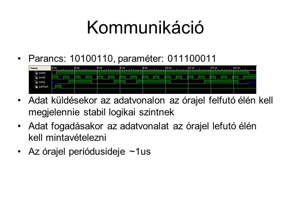 Kommunikáció Parancs: 10100110, paraméter: 011100011 Adat küldésekor az adatvonalon az órajel felfutó élén kell megjelennie stabil logikai szintnek Ad