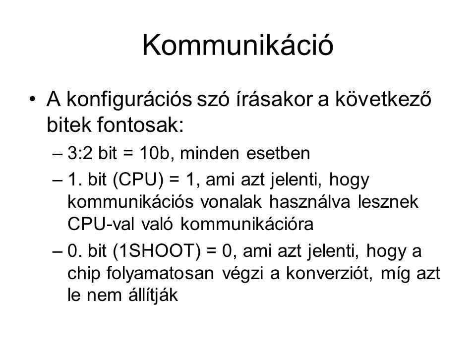 Kommunikáció A konfigurációs szó írásakor a következő bitek fontosak: –3:2 bit = 10b, minden esetben –1. bit (CPU) = 1, ami azt jelenti, hogy kommunik