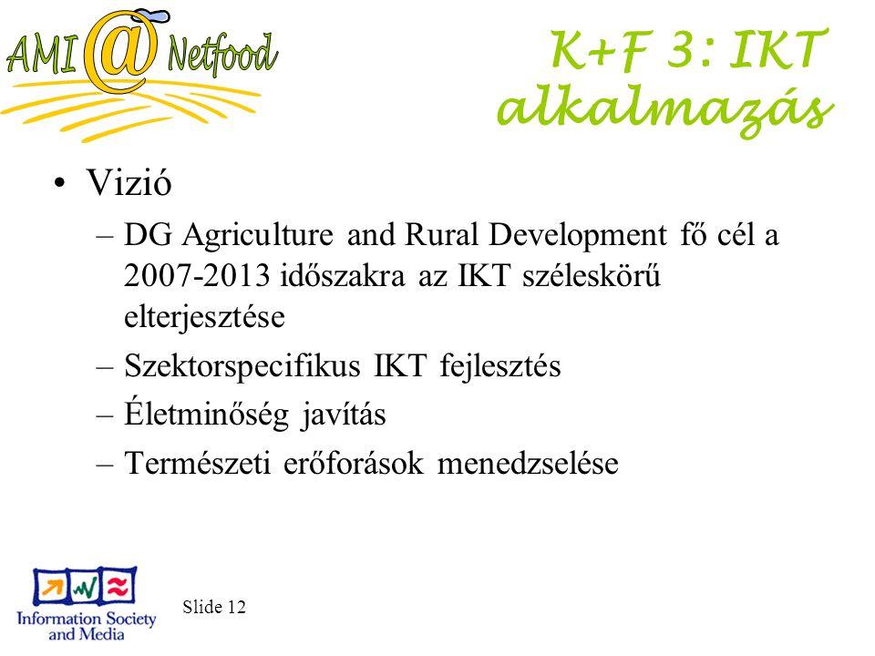 Slide 12 K+F 3: IKT alkalmazás Vizió –DG Agriculture and Rural Development fő cél a 2007-2013 időszakra az IKT széleskörű elterjesztése –Szektorspecifikus IKT fejlesztés –Életminőség javítás –Természeti erőforások menedzselése
