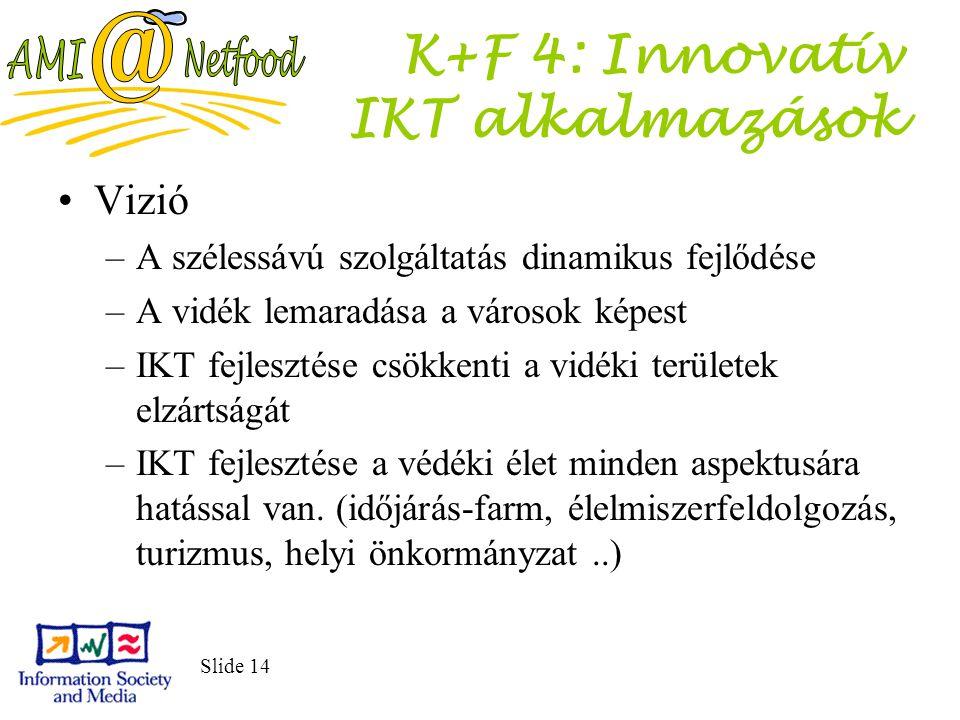 Slide 14 K+F 4: Innovatív IKT alkalmazások Vizió –A szélessávú szolgáltatás dinamikus fejlődése –A vidék lemaradása a városok képest –IKT fejlesztése csökkenti a vidéki területek elzártságát –IKT fejlesztése a védéki élet minden aspektusára hatással van.