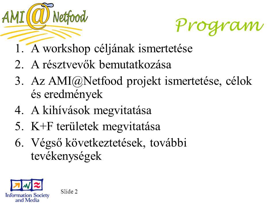 Slide 2 1.A workshop céljának ismertetése 2.A résztvevők bemutatkozása 3.Az AMI@Netfood projekt ismertetése, célok és eredmények 4.A kihívások megvita