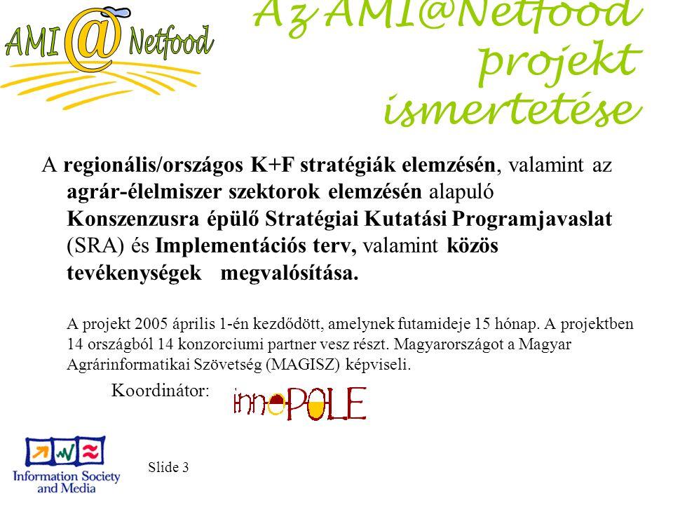 Slide 3 Az AMI@Netfood projekt ismertetése A regionális/országos K+F stratégiák elemzésén, valamint az agrár-élelmiszer szektorok elemzésén alapuló Ko