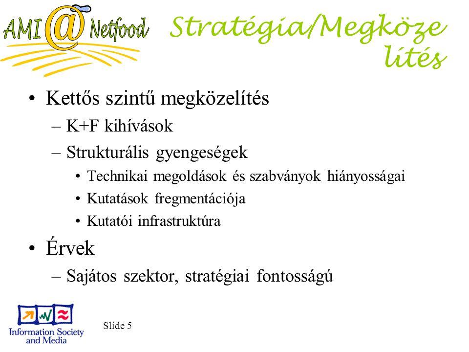 Slide 5 Stratégia/Megköze lítés Kettős szintű megközelítés –K+F kihívások –Strukturális gyengeségek Technikai megoldások és szabványok hiányosságai Ku