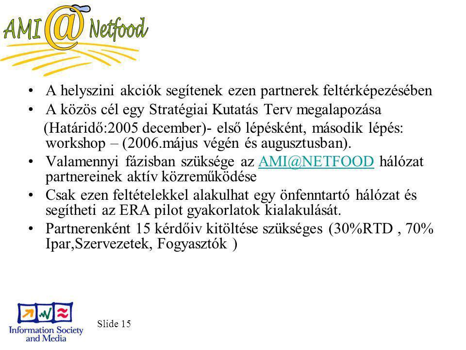 Slide 15 A helyszini akciók segítenek ezen partnerek feltérképezésében A közös cél egy Stratégiai Kutatás Terv megalapozása (Határidő:2005 december)- első lépésként, második lépés: workshop – (2006.május végén és augusztusban).