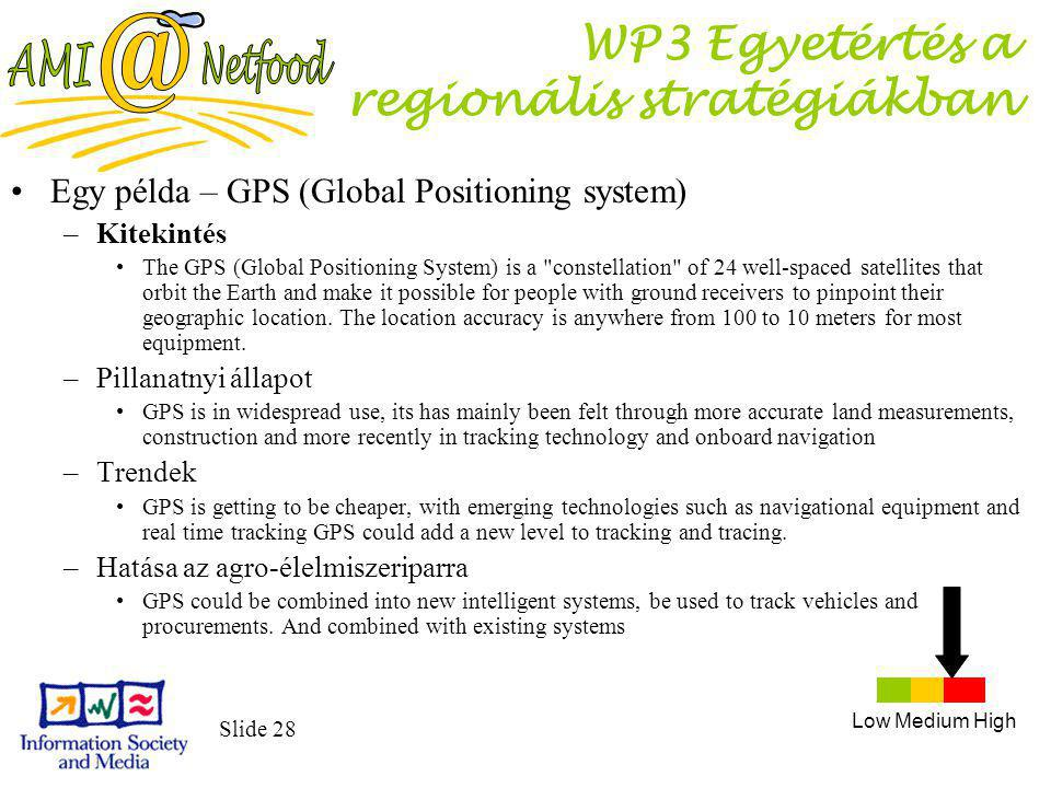 Slide 28 WP3 Egyetértés a regionális stratégiákban Egy példa – GPS (Global Positioning system) –Kitekintés The GPS (Global Positioning System) is a constellation of 24 well-spaced satellites that orbit the Earth and make it possible for people with ground receivers to pinpoint their geographic location.