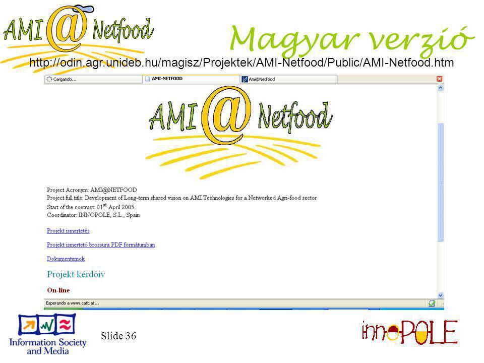 Slide 36 Magyar verzió http://odin.agr.unideb.hu/magisz/Projektek/AMI-Netfood/Public/AMI-Netfood.htm