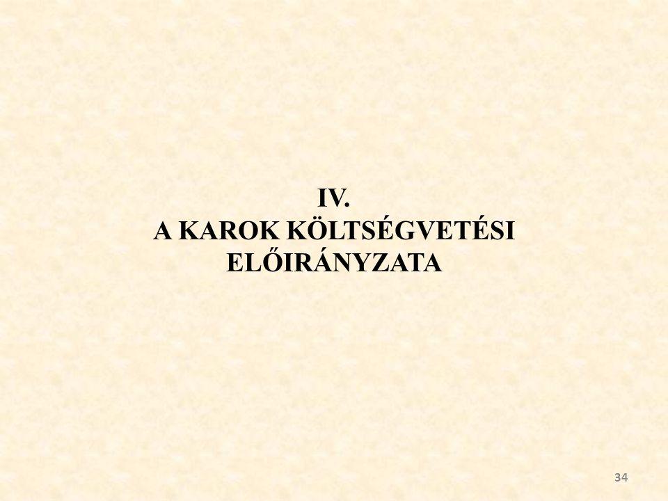 IV. A KAROK KÖLTSÉGVETÉSI ELŐIRÁNYZATA 34