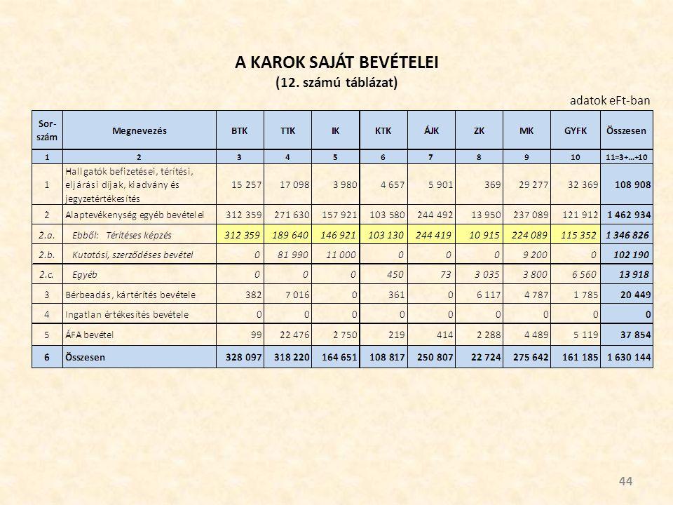 A KAROK SAJÁT BEVÉTELEI (12. számú táblázat) 44 adatok eFt-ban