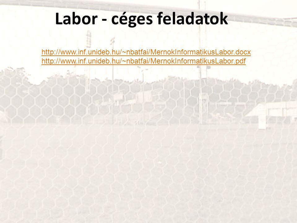 Labor - céges feladatok http://www.inf.unideb.hu/~nbatfai/MernokInformatikusLabor.docx http://www.inf.unideb.hu/~nbatfai/MernokInformatikusLabor.pdf