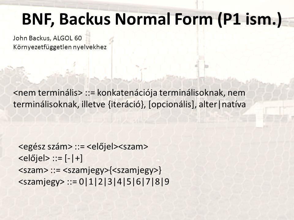 BNF, Backus Normal Form (P1 ism.) John Backus, ALGOL 60 Környezetfüggetlen nyelvekhez ::= konkatenációja terminálisoknak, nem terminálisoknak, illetve {iteráció}, [opcionális], alter|natíva ::= ::= [-|+] ::= { } ::= 0|1|2|3|4|5|6|7|8|9