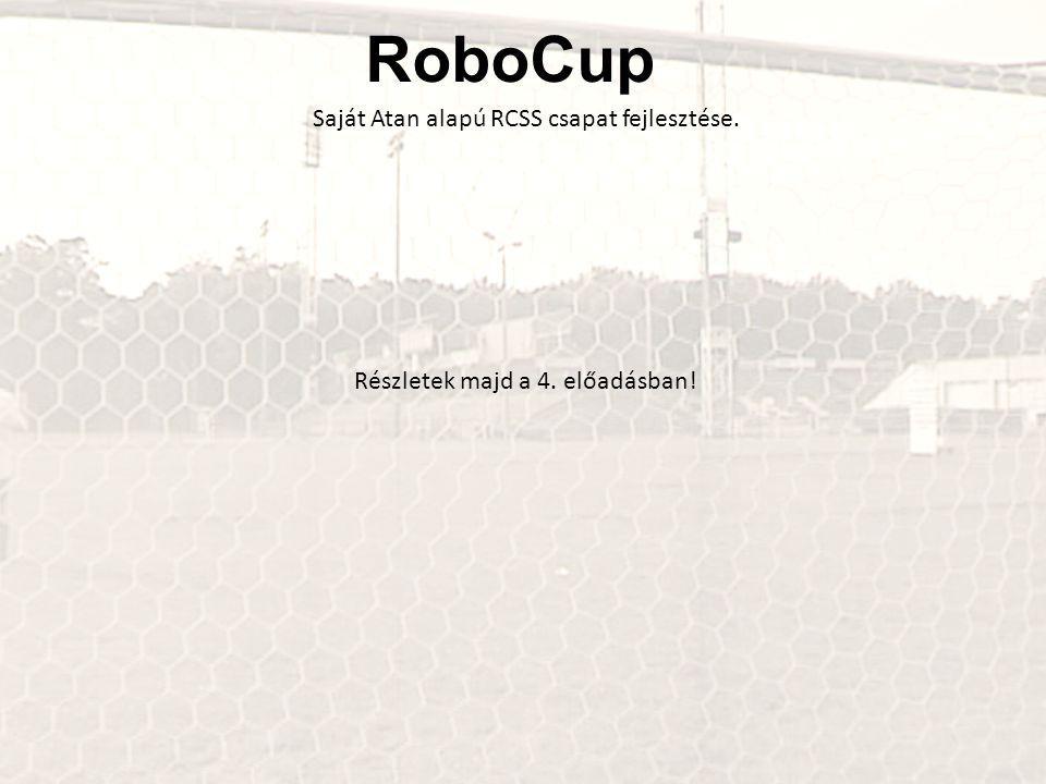 RoboCup Saját Atan alapú RCSS csapat fejlesztése. Részletek majd a 4. előadásban!