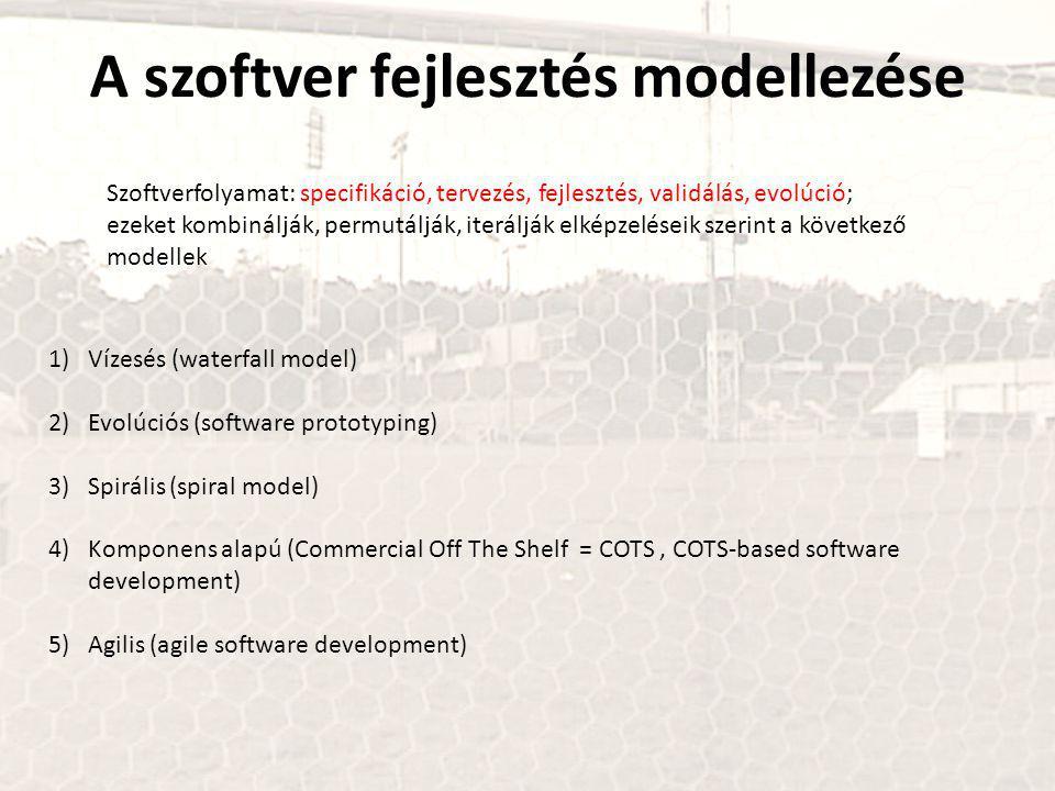 A szoftver fejlesztés modellezése 1)Vízesés (waterfall model) 2)Evolúciós (software prototyping) 3)Spirális (spiral model) 4)Komponens alapú (Commercial Off The Shelf = COTS, COTS-based software development) 5)Agilis (agile software development) Szoftverfolyamat: specifikáció, tervezés, fejlesztés, validálás, evolúció; ezeket kombinálják, permutálják, iterálják elképzeléseik szerint a következő modellek