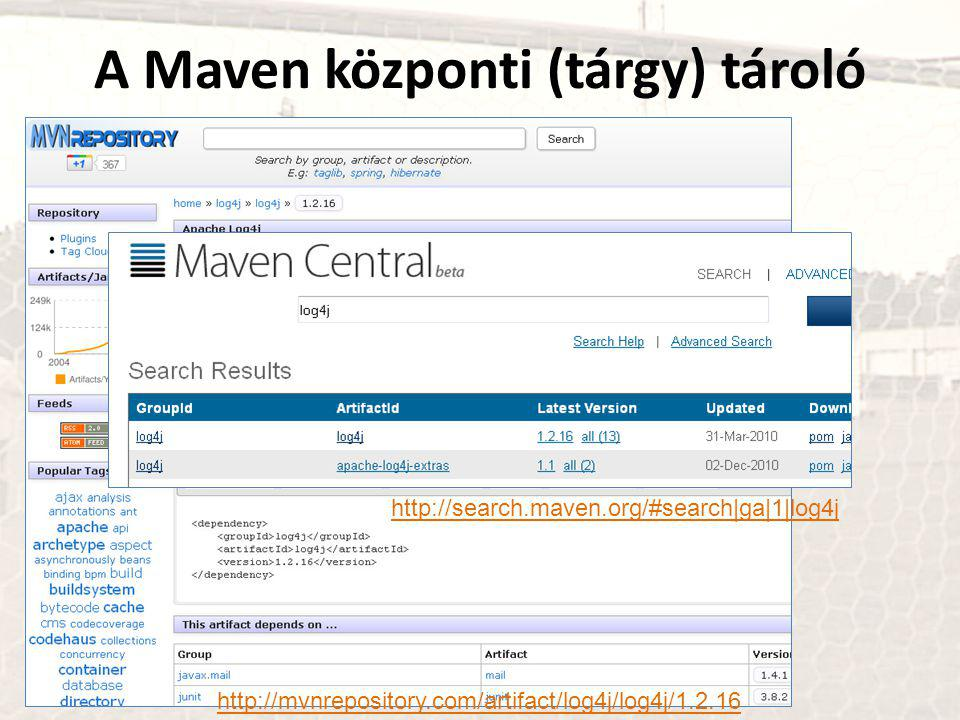 A Maven központi (tárgy) tároló http://mvnrepository.com/artifact/log4j/log4j/1.2.16 http://search.maven.org/#search|ga|1|log4j
