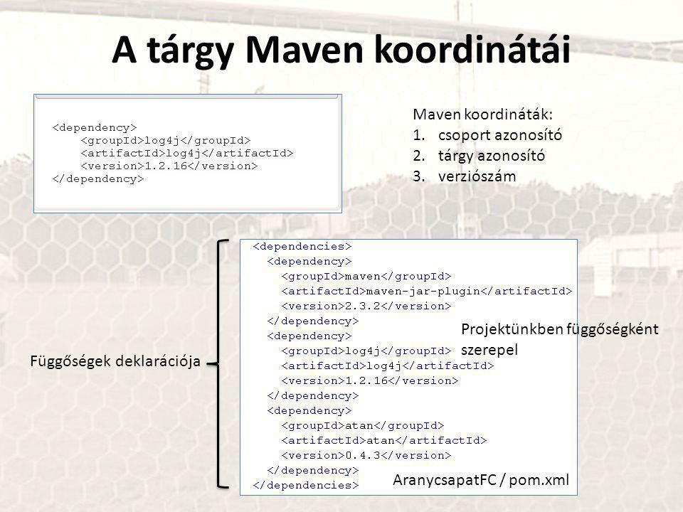 A tárgy Maven koordinátái Maven koordináták: 1.csoport azonosító 2.tárgy azonosító 3.verziószám AranycsapatFC / pom.xml Projektünkben függőségként szerepel Függőségek deklarációja