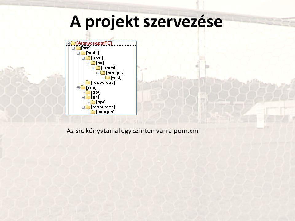 A projekt szervezése Az src könyvtárral egy szinten van a pom.xml