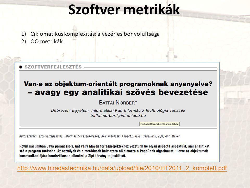 Szoftver metrikák 1)Ciklomatikus komplexitás: a vezérlés bonyolultsága 2)OO metrikák http://www.hiradastechnika.hu/data/upload/file/2010/HT2011_2_komplett.pdf