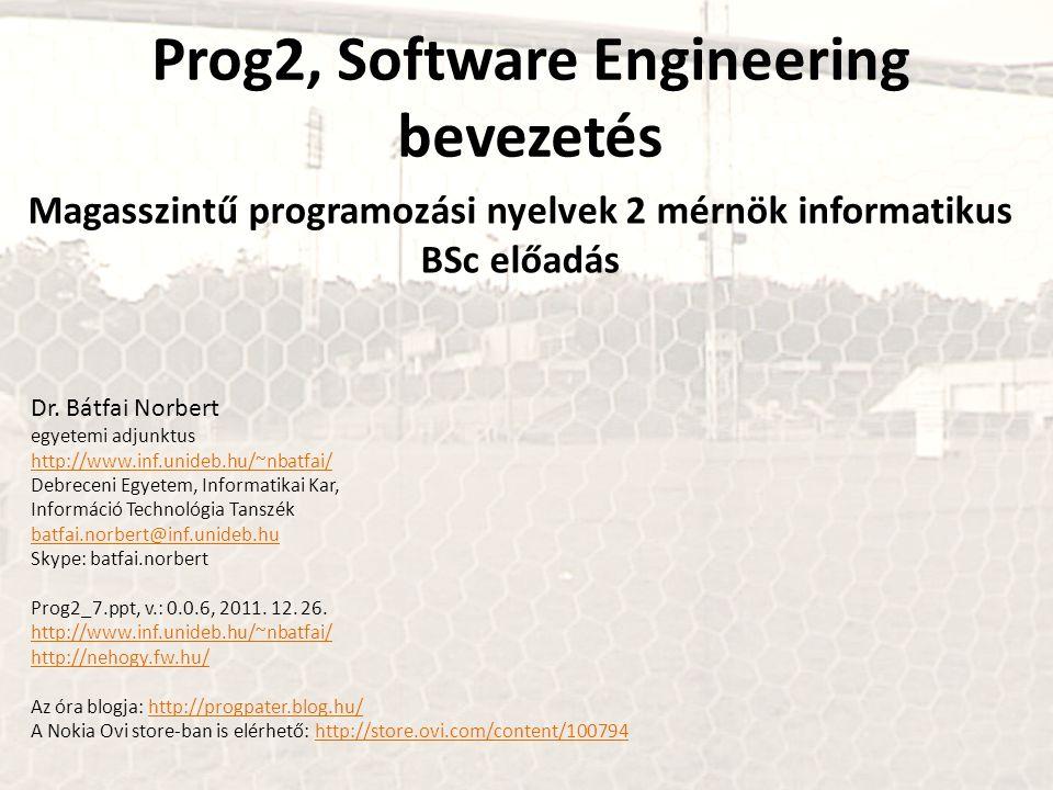 Prog2, Software Engineering bevezetés Magasszintű programozási nyelvek 2 mérnök informatikus BSc előadás Dr. Bátfai Norbert egyetemi adjunktus http://